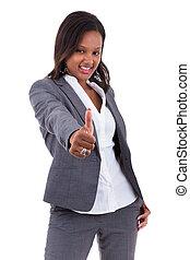 affaires femme, -, haut, américain, noir, pouces, africaine, confection, geste