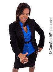 affaires femme, haut, américain, pouces, africaine, confection
