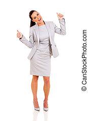 affaires femme, haut, pouces, fond, blanc