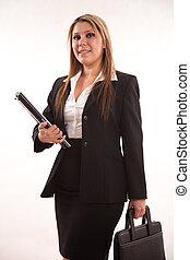 affaires femme, hispanique, années vingt, séduisant, joli, ...