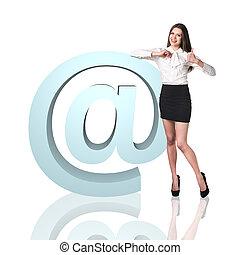 affaires femme, icône, e-mail, grand