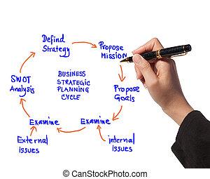 affaires femme, idée, stratégique, diagramme, planification, planche, dessin, cycle