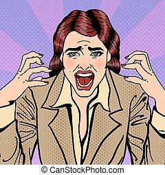affaires femme, illustration, vecteur, pop, accentué, screaming., frustré, art.