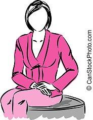 affaires femme, illustration.eps, séance