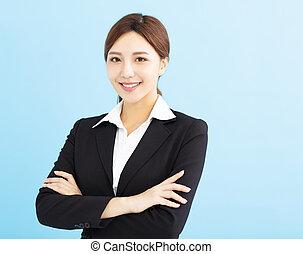affaires femme, isolé, jeune, asiatique, sourire