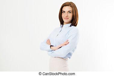 affaires femme, -, jeune, bras, directeur confiant, traversé, fond, portrait, blanc