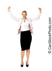 affaires femme, jeune, haut, bras, heureux
