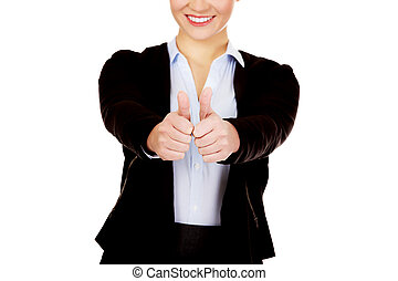 affaires femme, jeune, haut, pouces, heureux