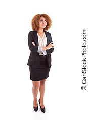 affaires femme, jeune, haut, regarder, américain, africaine, portrait