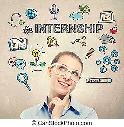 affaires femme, jeune, internship, concept
