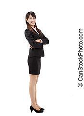 affaires femme, jeune, isolé, confiant, fond, portrait, blanc
