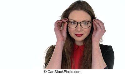 affaires femme, jeune regarder, appareil photo, lunettes, heureux