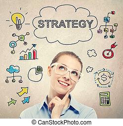 affaires femme, jeune, stratégie, concept