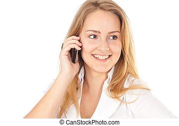 affaires femme, jeune, téléphone, tenue, sourire