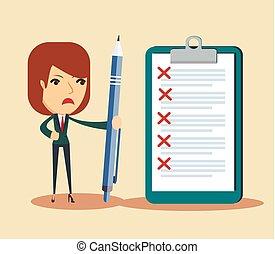 affaires femme, liste contrôle, clipboard., triste, regarder, stylo, tenue