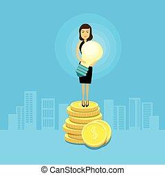 affaires femme, lumière, pièces, asiatique, ampoule, prise, stand