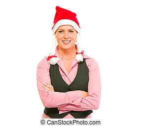 affaires femme, moderne, santa, portrait, sourire, chapeau