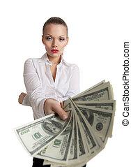 affaires femme, offre, argent, jeune, paquet