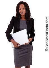 affaires femme, ordinateur portable, américain, tenue, africaine