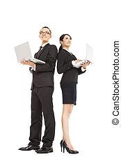 affaires femme, ordinateur portable, jeune, tenue, homme