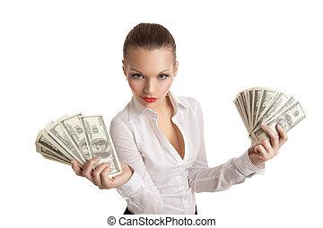 affaires femme, paquet argent, prendre, sexy