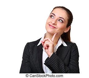 affaires femme, pensée, haut, isolé, regarder, sourire heureux