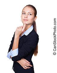 affaires femme, pensée, isolé, jeune, main, menton, séduisant, fond, portrait, blanc