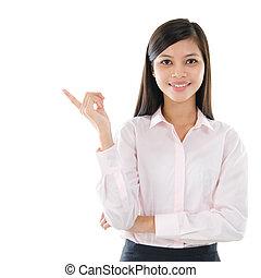 affaires femme, pointage, espace, asiatique, copie