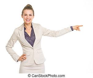 affaires femme, pointage, espace, copie, heureux