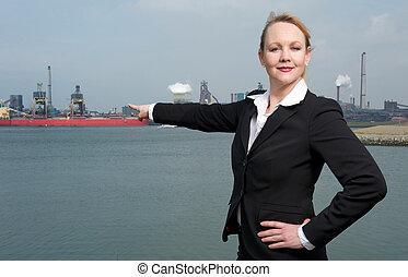 affaires femme, pointage, port, bateaux, confiant, doigt