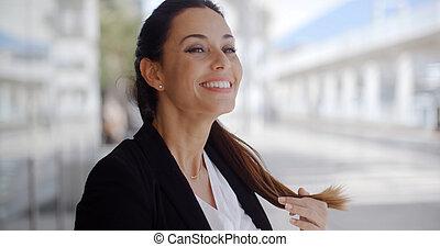 affaires femme, position souriante, beau