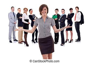 affaires femme, présentation, équipe, elle