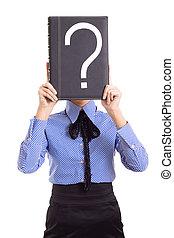 affaires femme, problèmes, question, isolé, marque