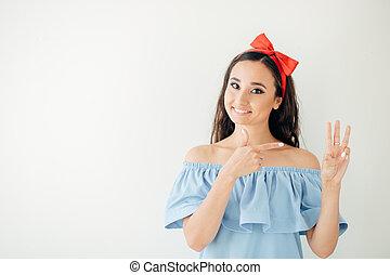 affaires femme, projection, cadre, trois, doigts, 3, main, ou, geste
