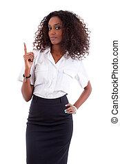 affaires femme, projection, jeune, américain, quelque chose, africaine