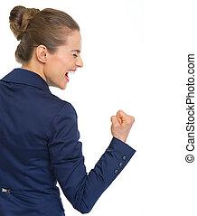 affaires femme, projection, pompe, poing, geste, heureux