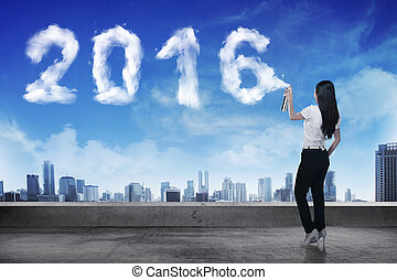 affaires femme, pulvérisation, forme, année, blanc, 2016, nuage