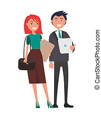 affaires femme, réussi, couple, élégant, homme