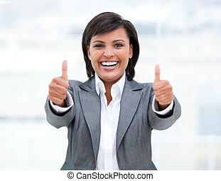 affaires femme, réussi, haut, pouces, portrait