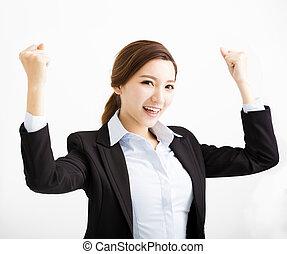 affaires femme, reussite, jeune, geste, heureux