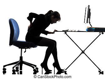 affaires femme, séance, douleur, mal reins, silhouette
