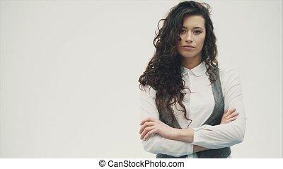 affaires femme, shirt., habillé, sourire, blanc
