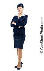 affaires femme, sur, isolé, fond, sourire, blanc, fullbody