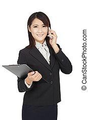 affaires femme, téléphone, asiatique, tenue, utilisation, dossier