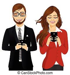affaires femme, téléphones mobiles, utilisation, homme