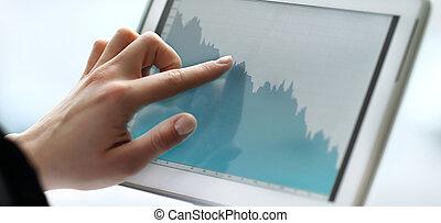 affaires femme, tablette, haut, mains, fin, utilisation, document