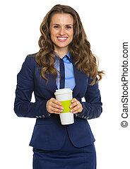affaires femme, tasse, boisson chaude, sourire