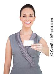 affaires femme, tenue, séduisant, carte, heureux