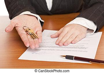 affaires femme, tient, contrat, clã©, mains