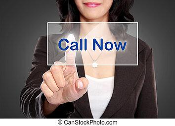 affaires femme, virtuel, poussée, appeler, écran, maintenant, bouton